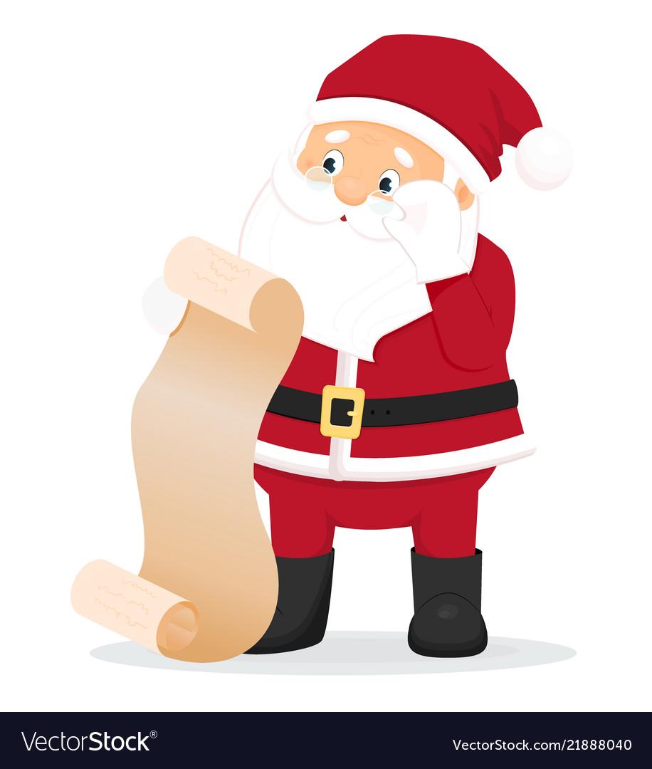 Cartoon surprised santa claus with wish list