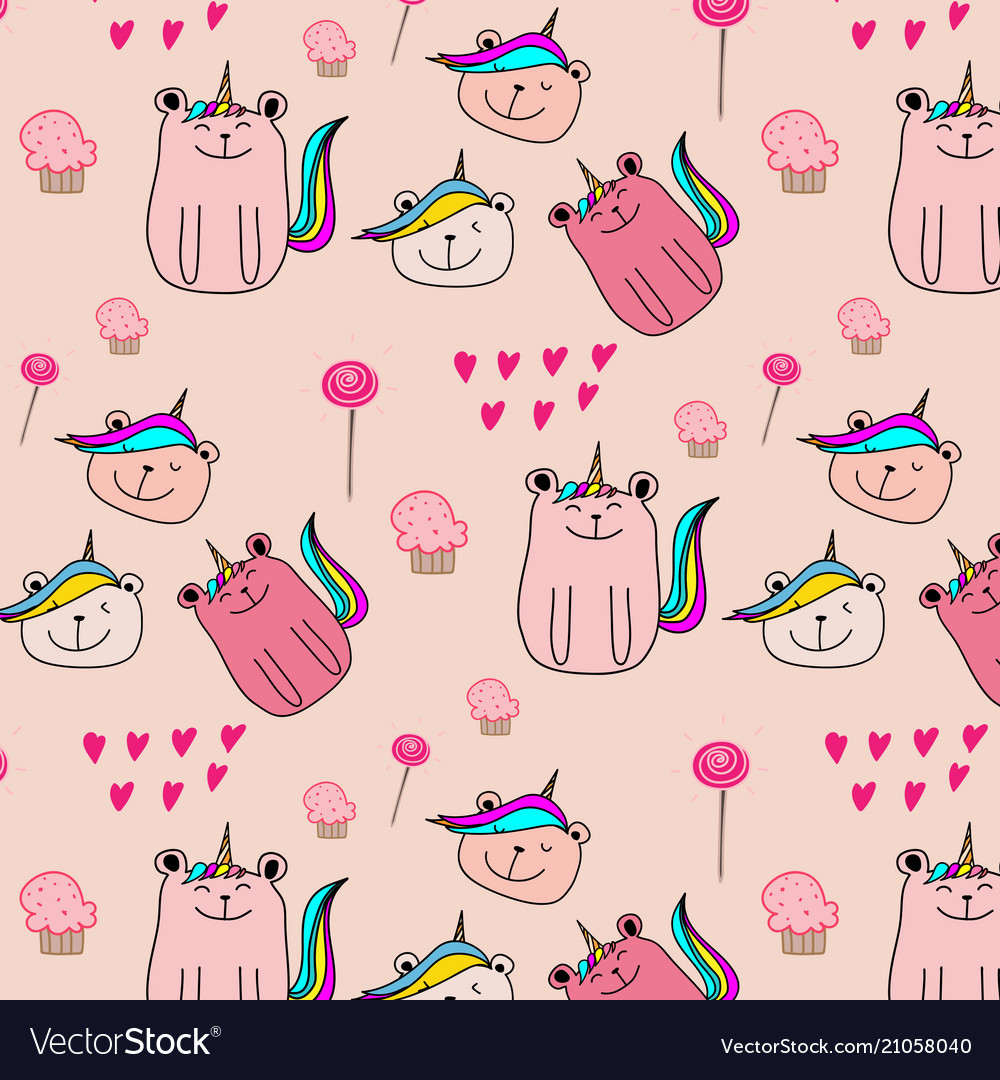 Cute bear unicorn pattern background