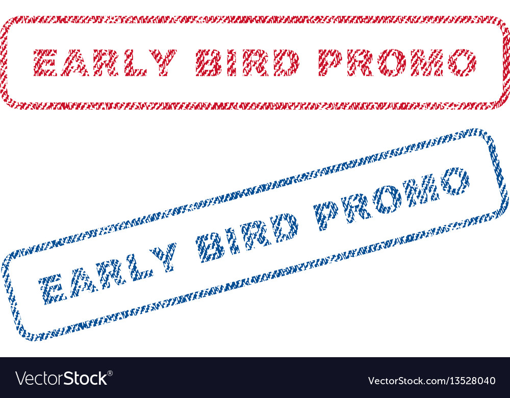 Early bird promo textile stamps vector image