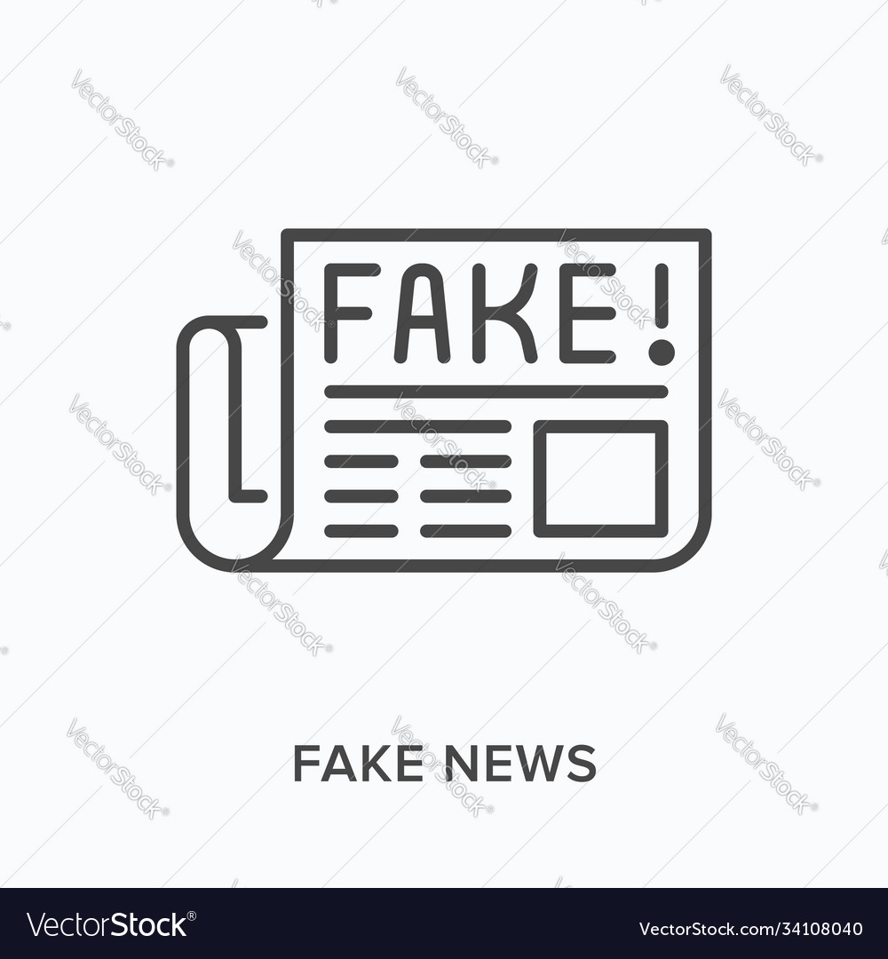 Fake news flat line icon outline