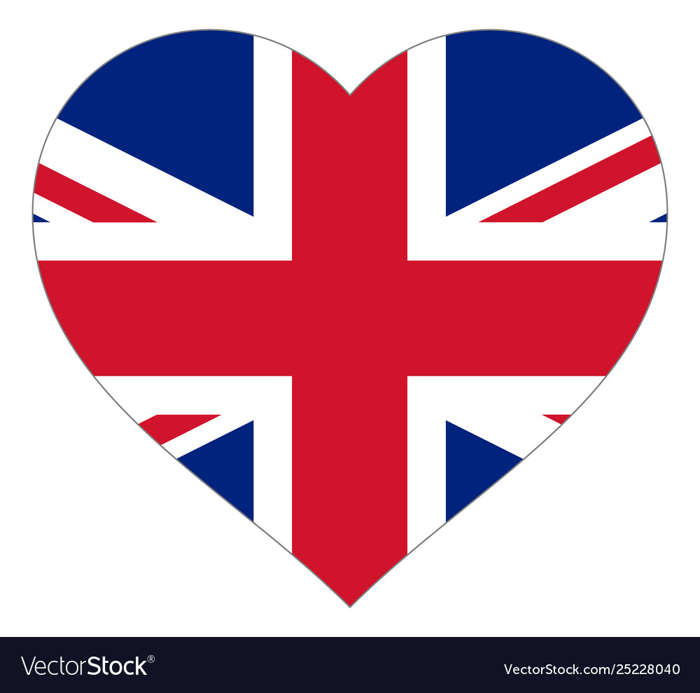 Flag in heart sign flag in shape heart