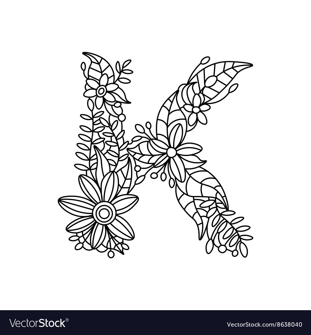 Letter K Coloring Book For Adults Royalty Free Vector Image