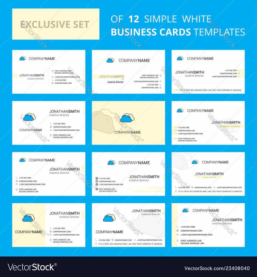 Set of 12 clouds creative busienss card template