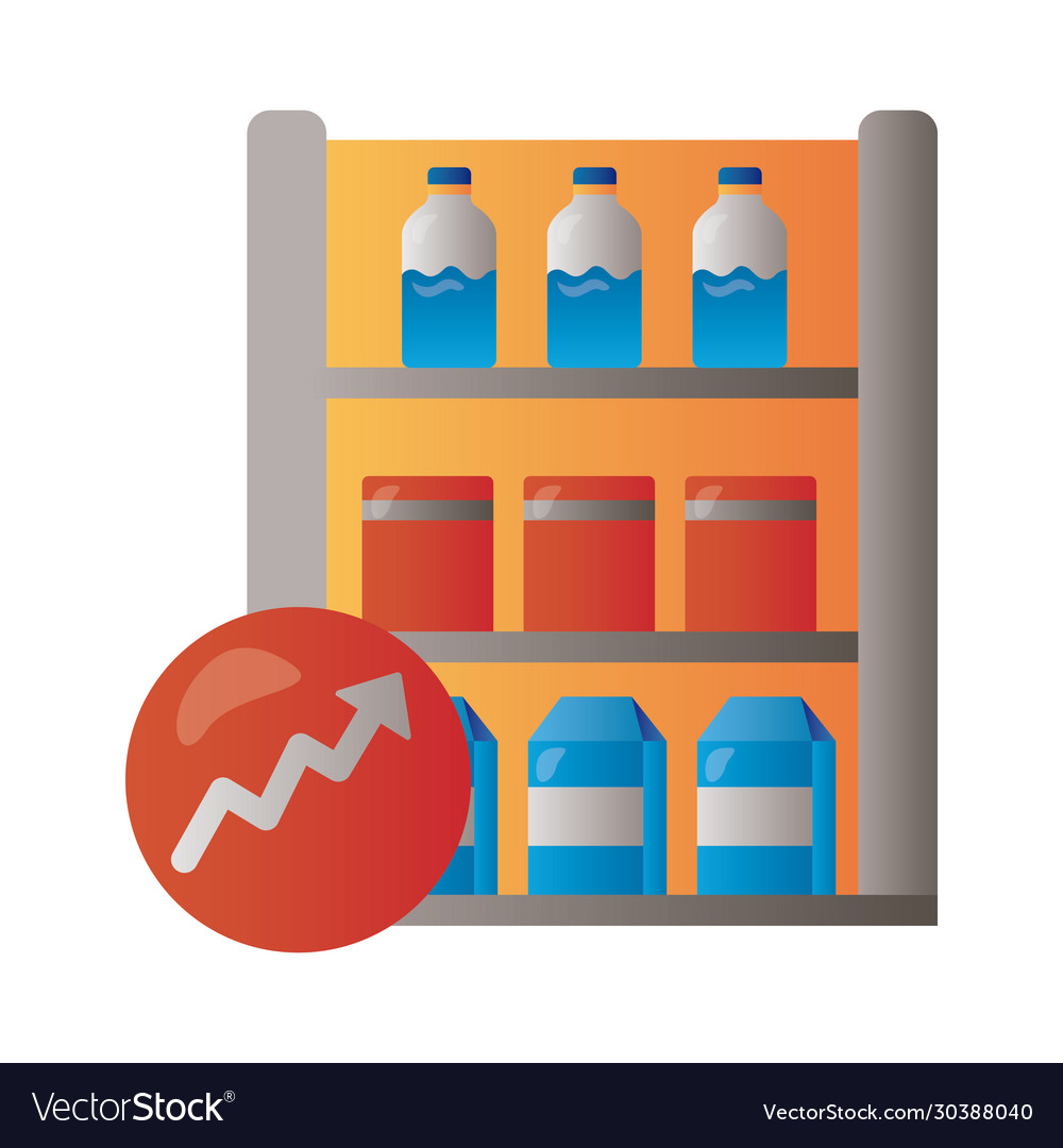 Shelving market with arrow up infographic