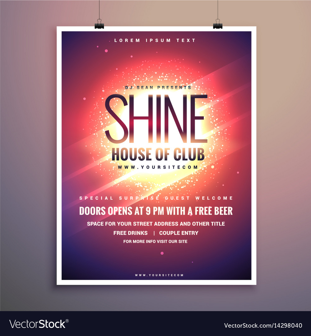 Shine club music party flyer template with