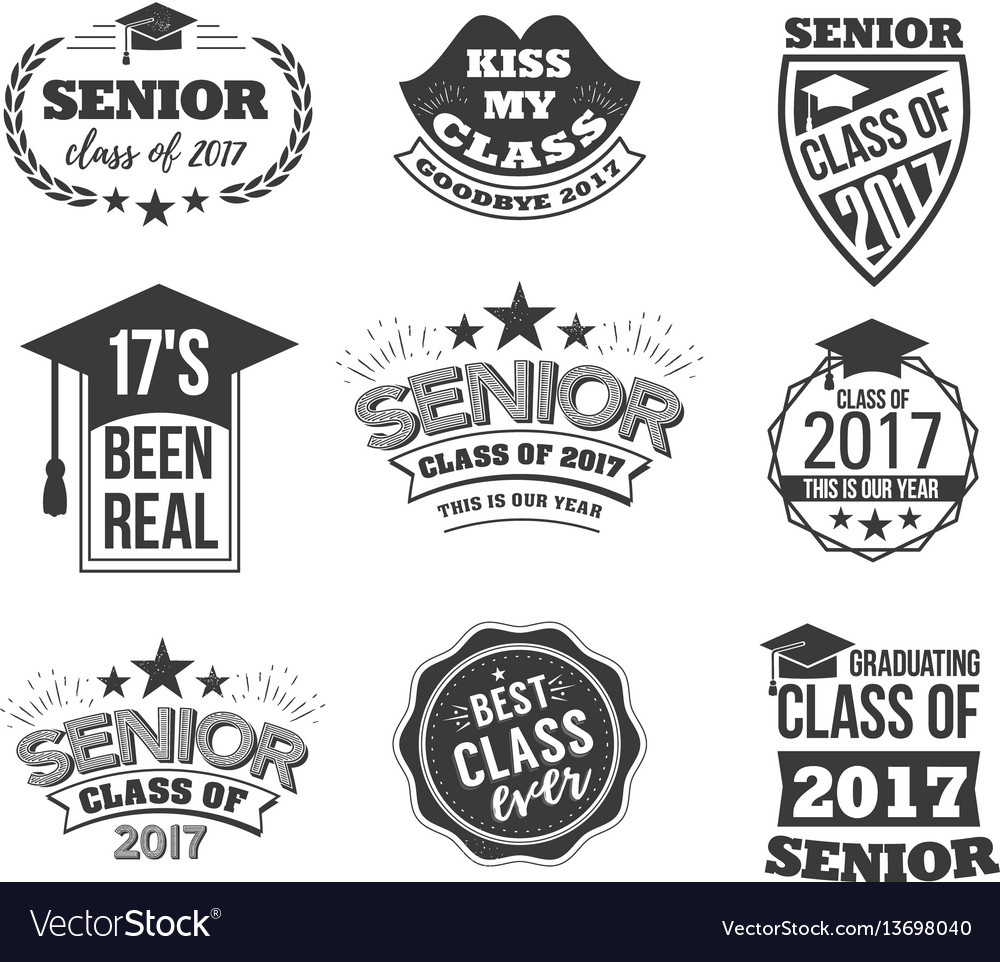 The set of black colored senior text signs with