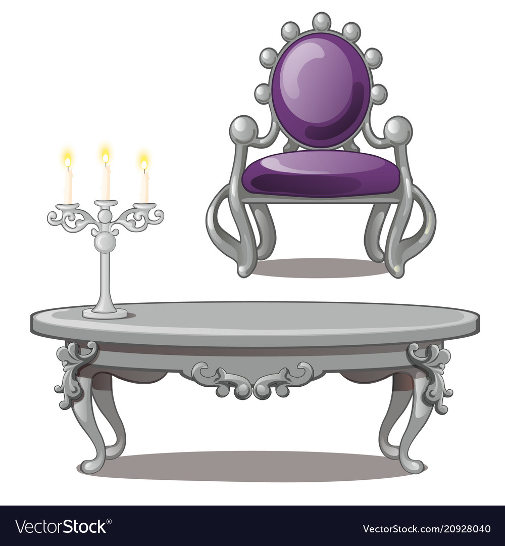 Vintage table with candle and chair isolated on a
