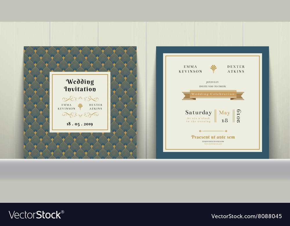 Art Deco Wedding Invitation Card in Gold and Blue vector image