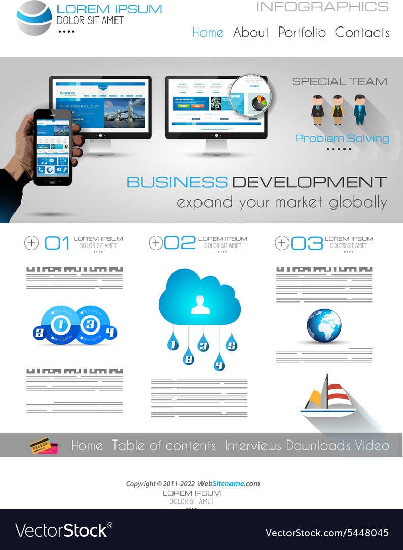 Attractive Modern Business Web Template with flat