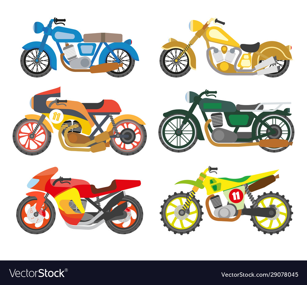 Bikes or motorcycles isolated icons scooters and
