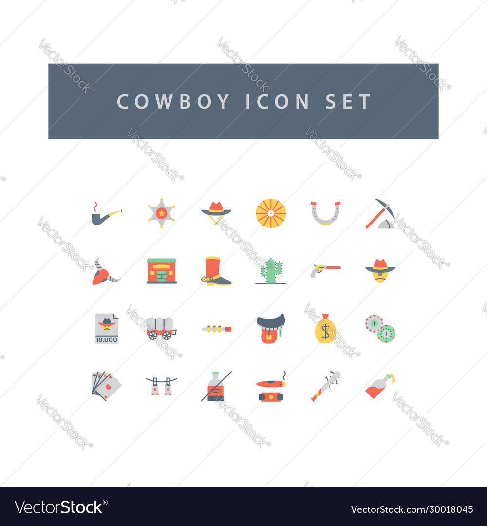 Cowboys icon set with colorful modern flat style