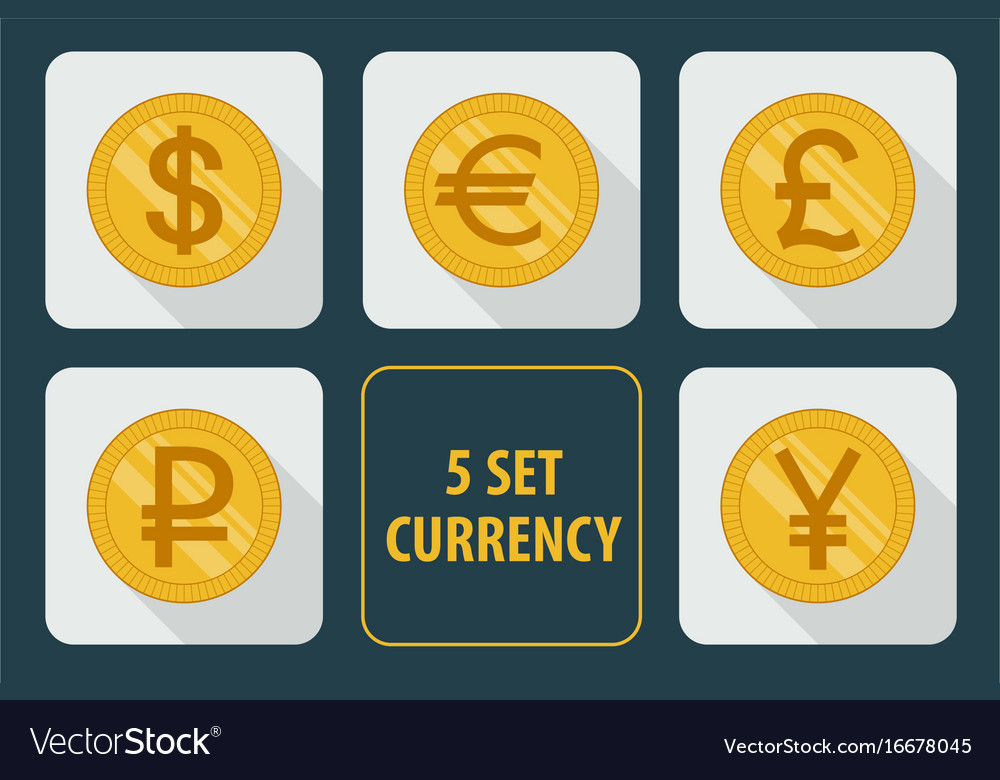 Currency set of icons on white background