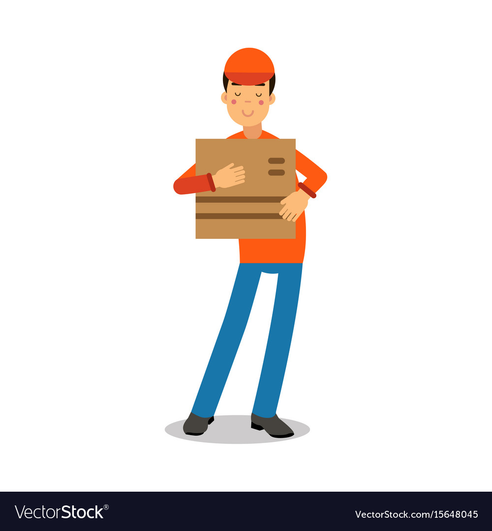 Delivery service worker holding cardbox courier