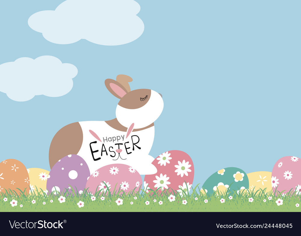 Easter day design of rabbit and eggs with flowers