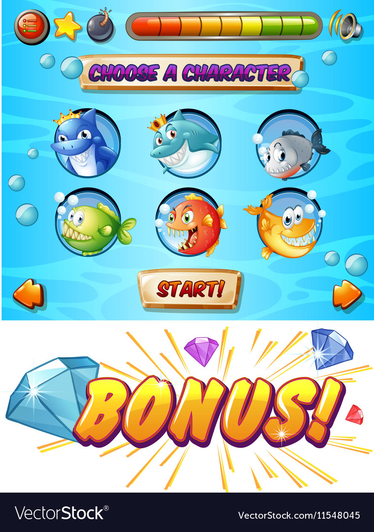 Game template with fish and shark characters vector image