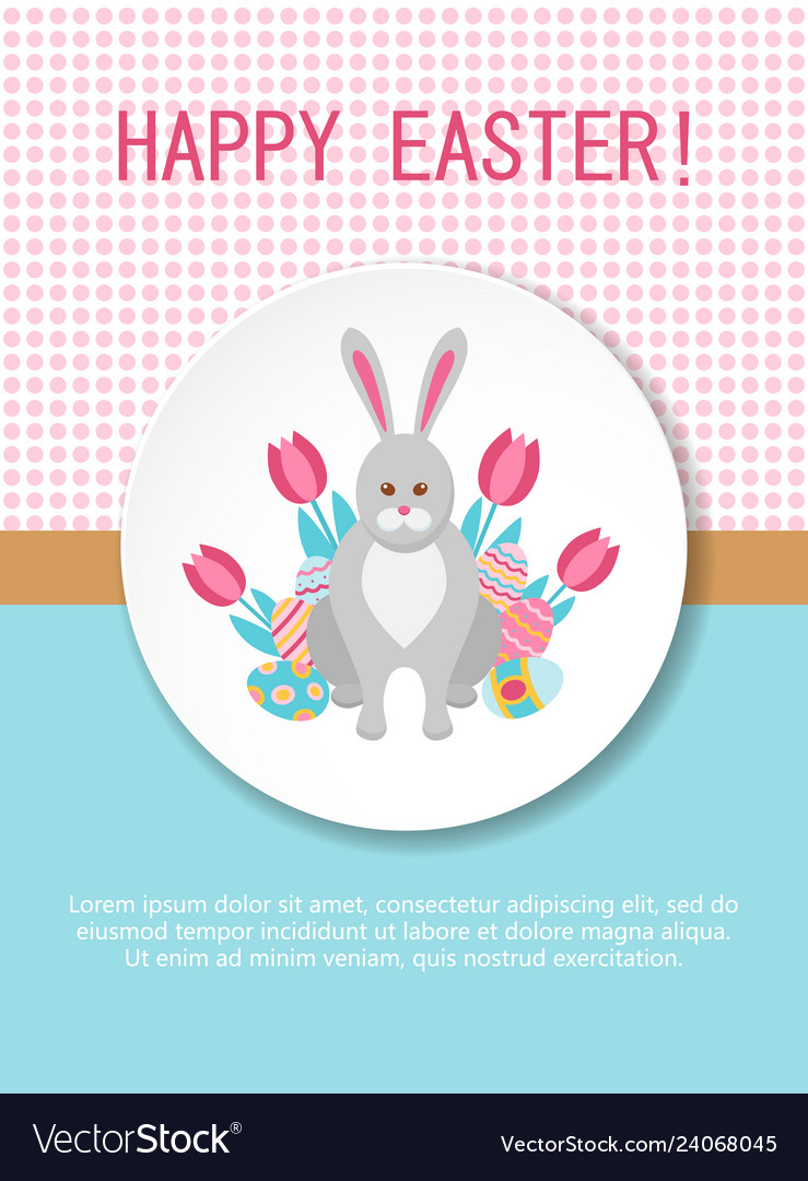 Happy easter card template with bunny flowers and