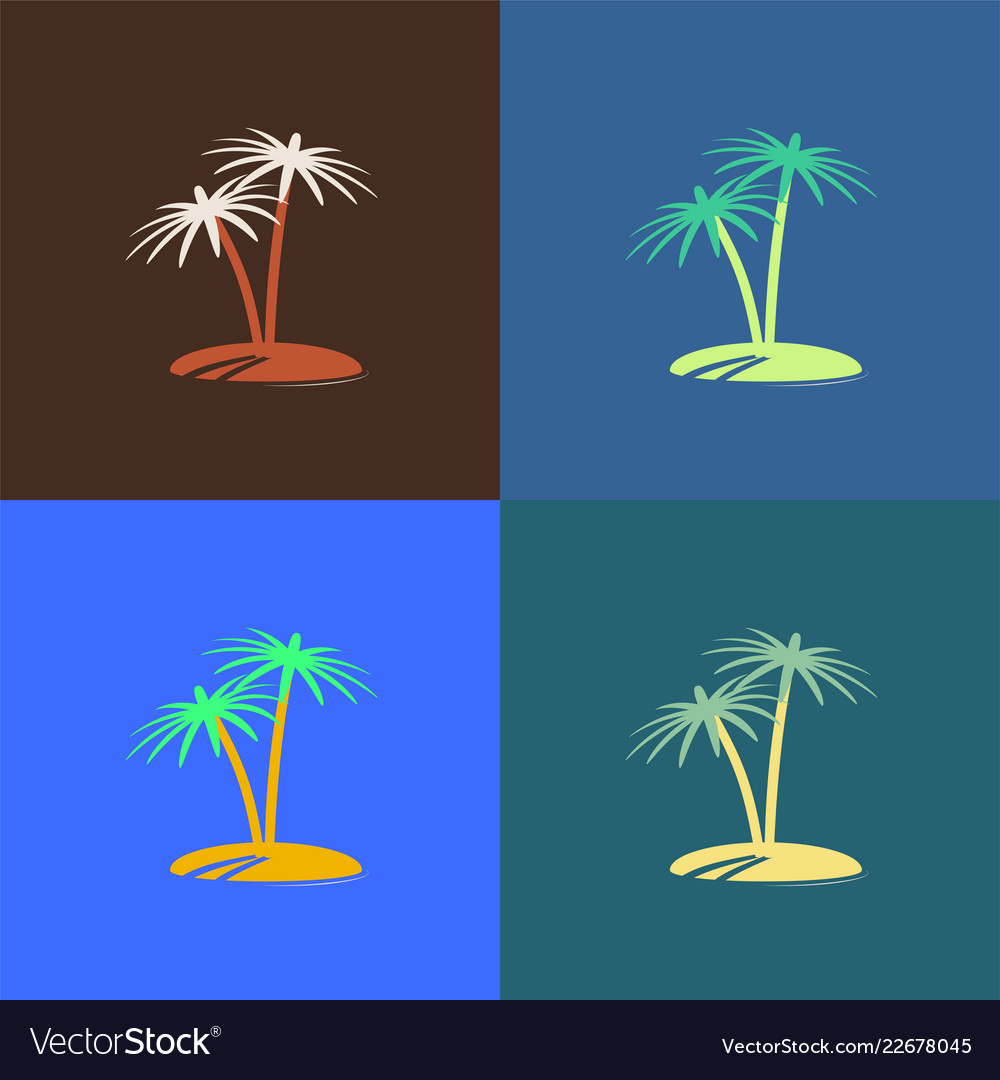 Palm tree island icon colour set