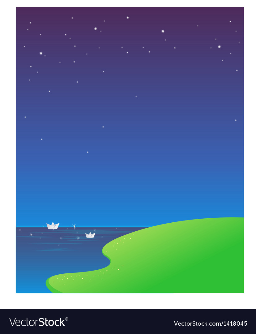 Paper boat blue sky vector image
