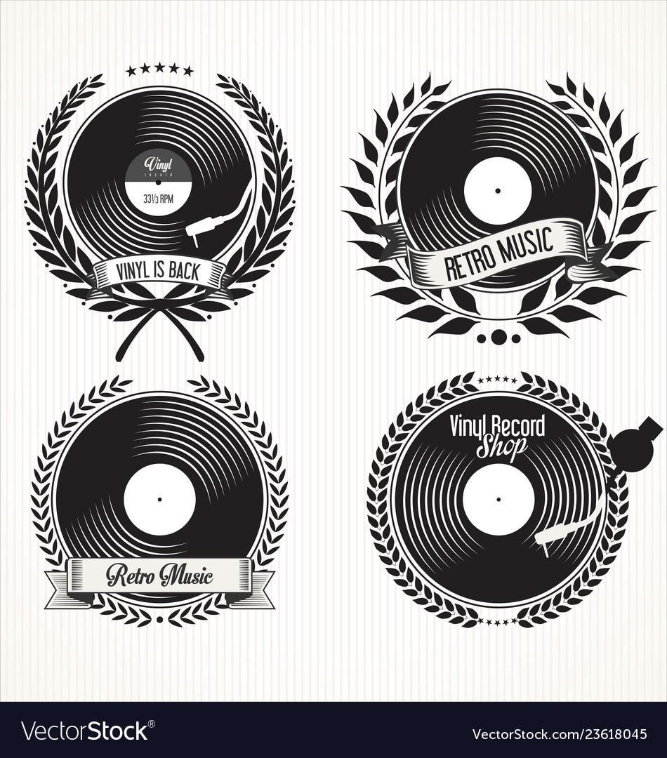 Retro vinyl records badge and laurel wreath