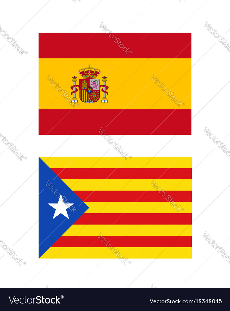 spain and catalonia flags royalty free vector image