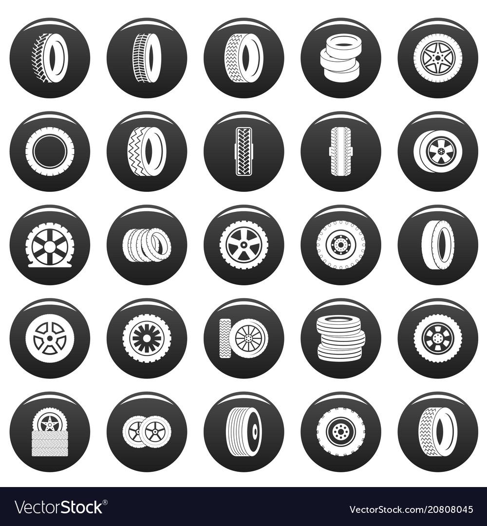 Tire icons set vetor black