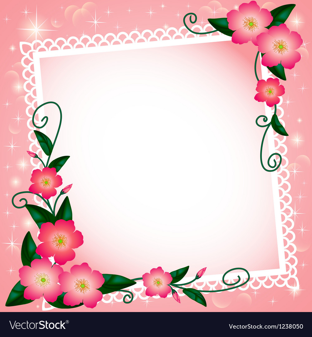 Background with flowers and paper lace