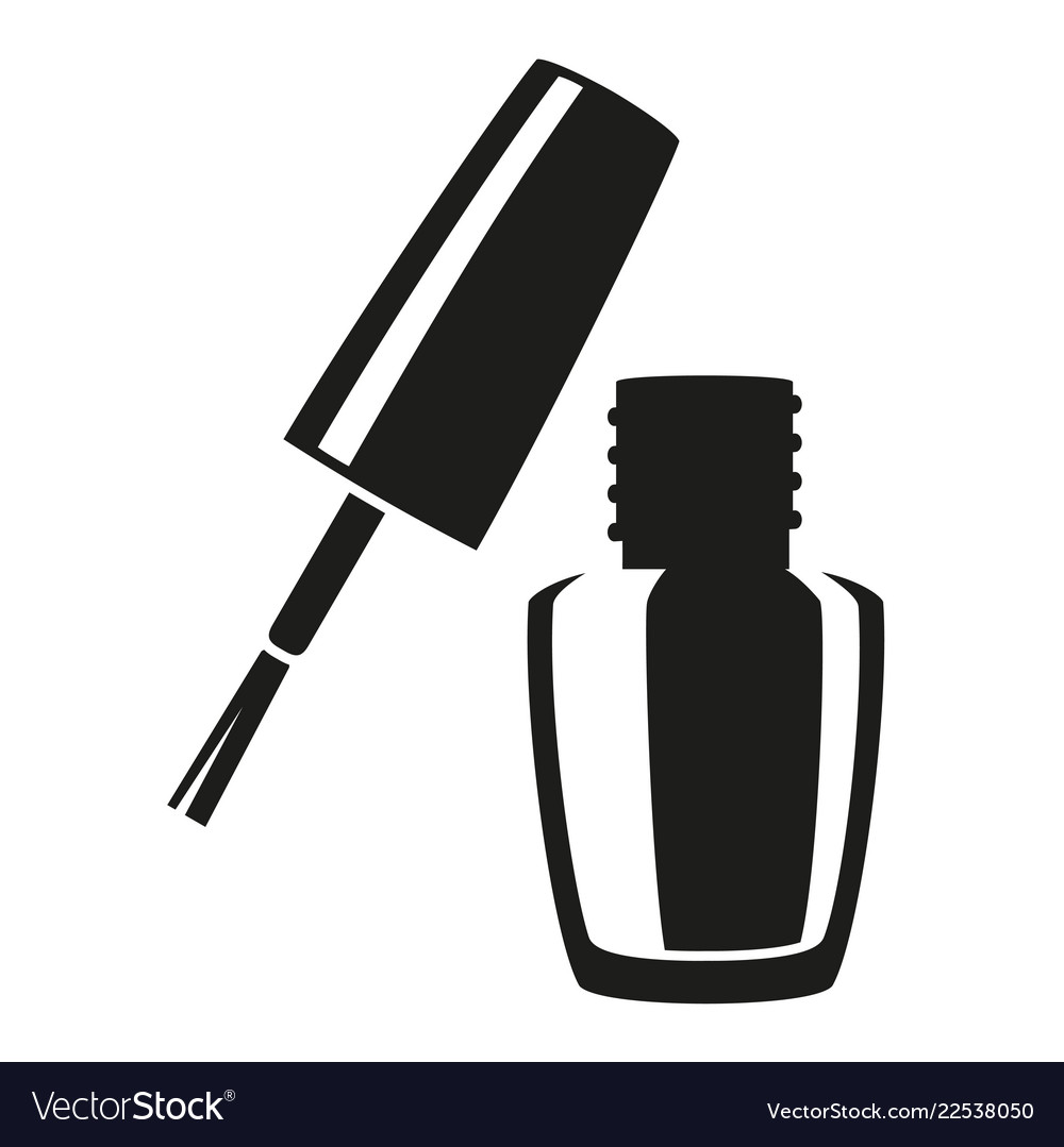 Nail Art Vector: Black And White Open Nail Polish Silhouette Vector Image