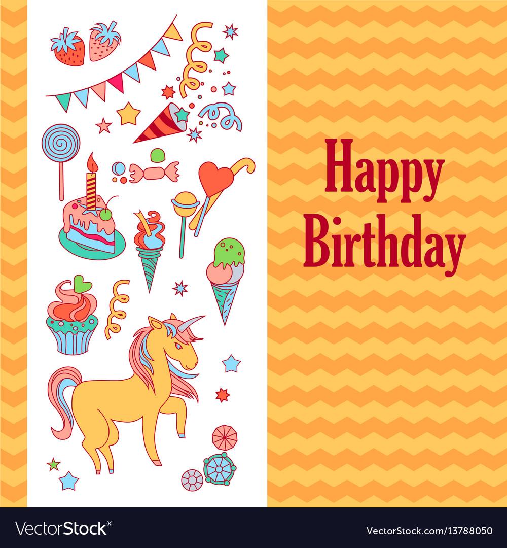 Bright birthday card with unicorn flower ice