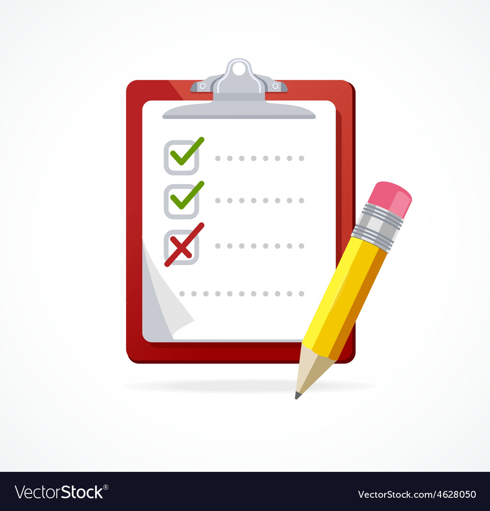 Checklist on a red Board Flat Design