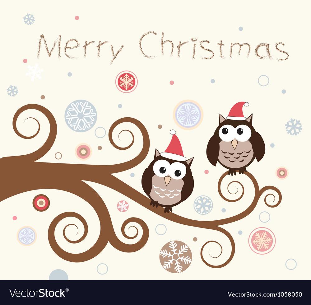 Christmas card Birds on a winter branch
