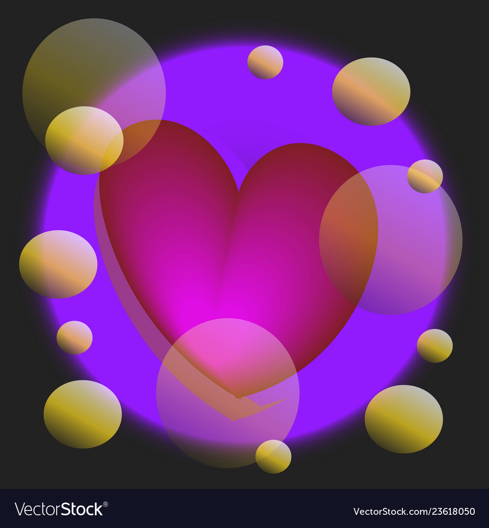 Festive violet background with hearts bokeh and