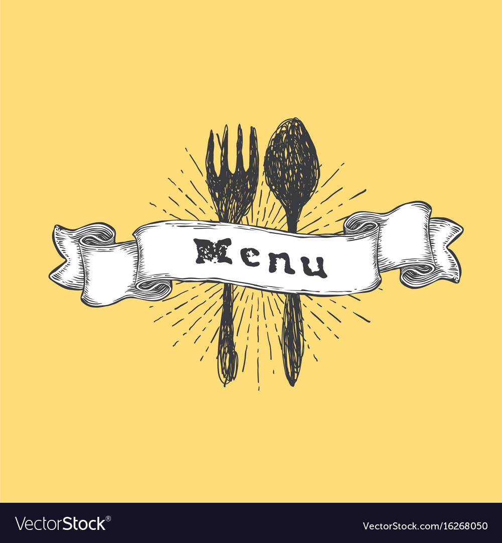 Fork and spoon restaurant menu template vintage vector image