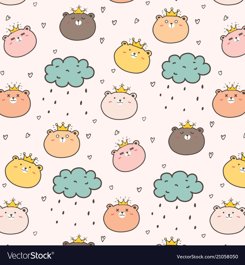 King bear pattern background for kids vector image