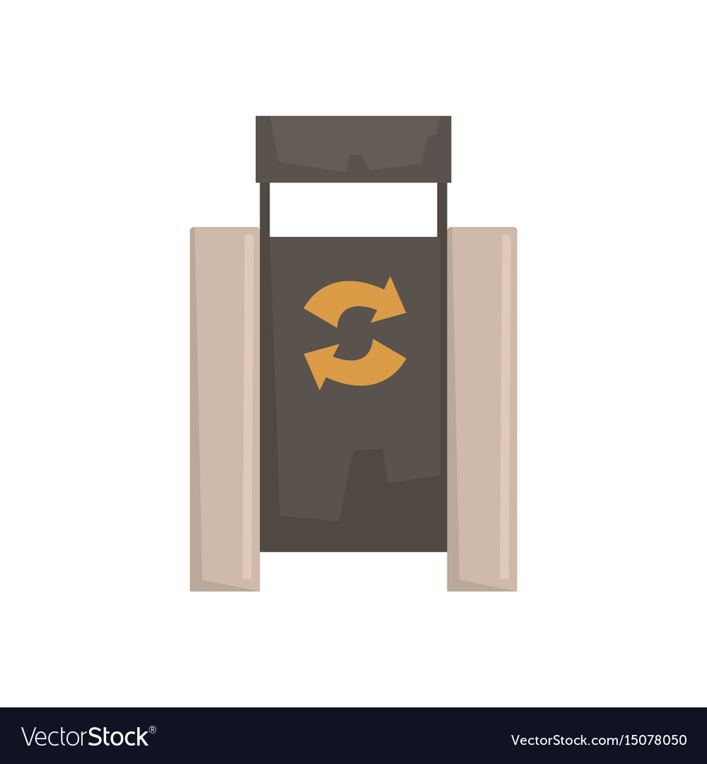 Outdoor bin with recycle symbol vector image
