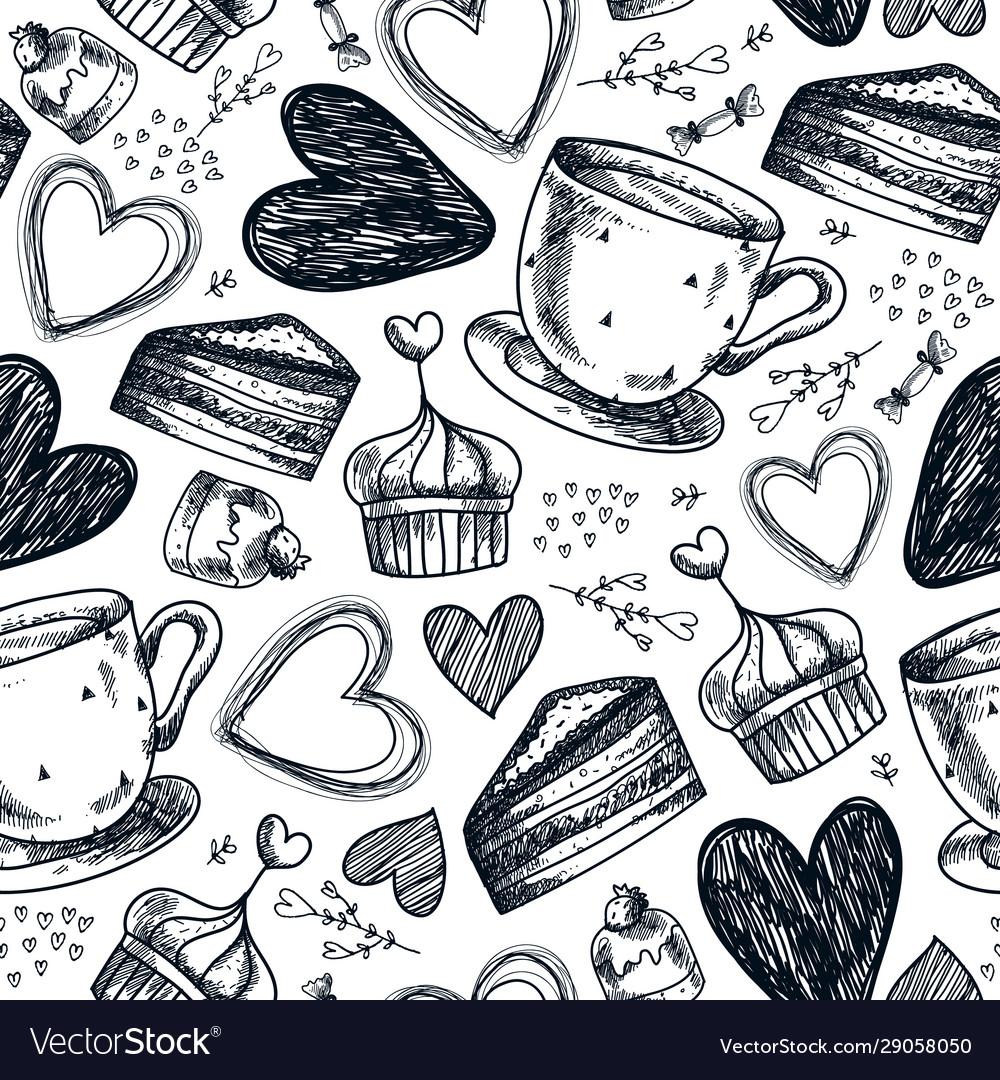 Seamless tea party coffee cupcakes