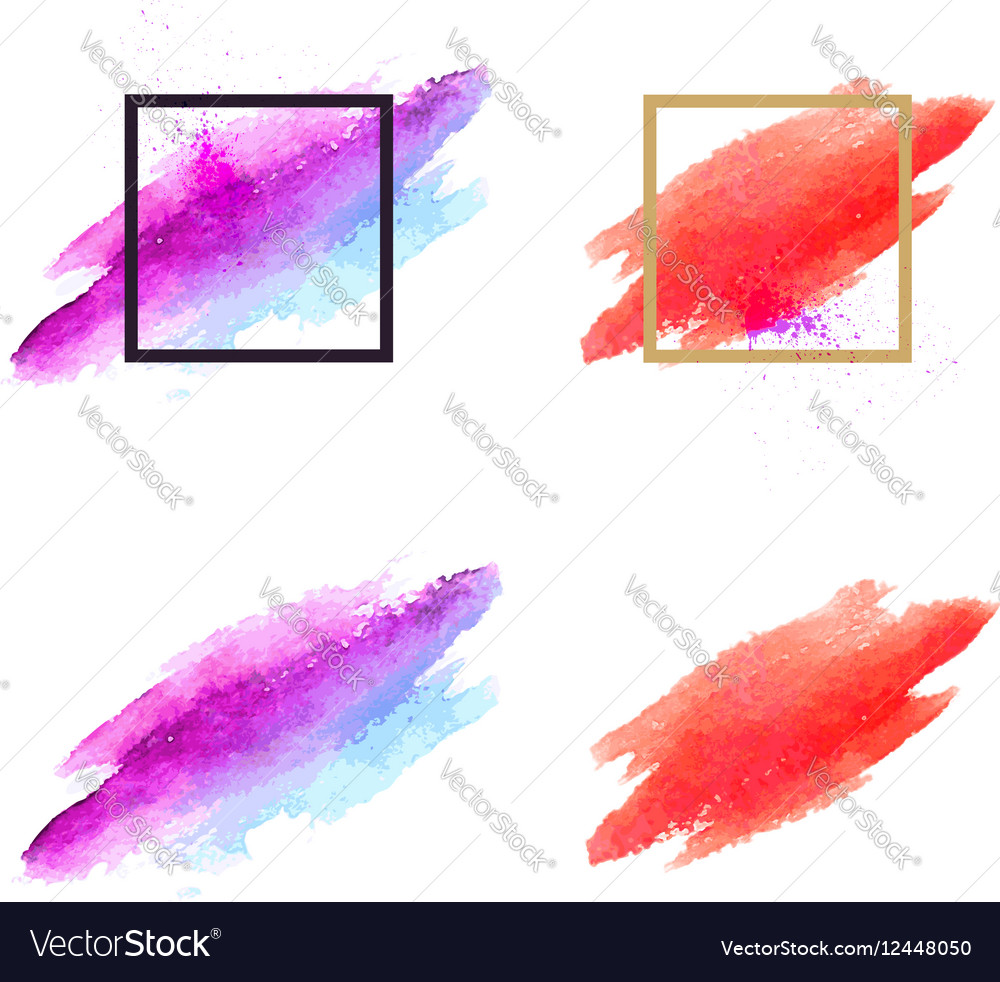 Set brush stains abstract