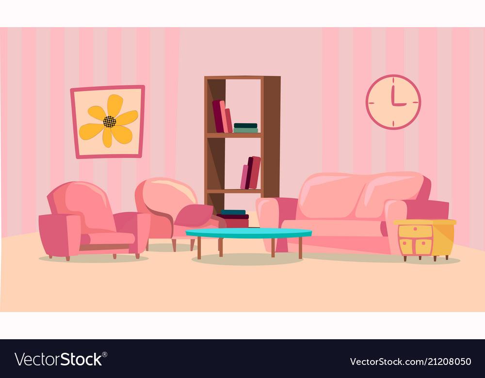 Set of elements for pink living room flat design
