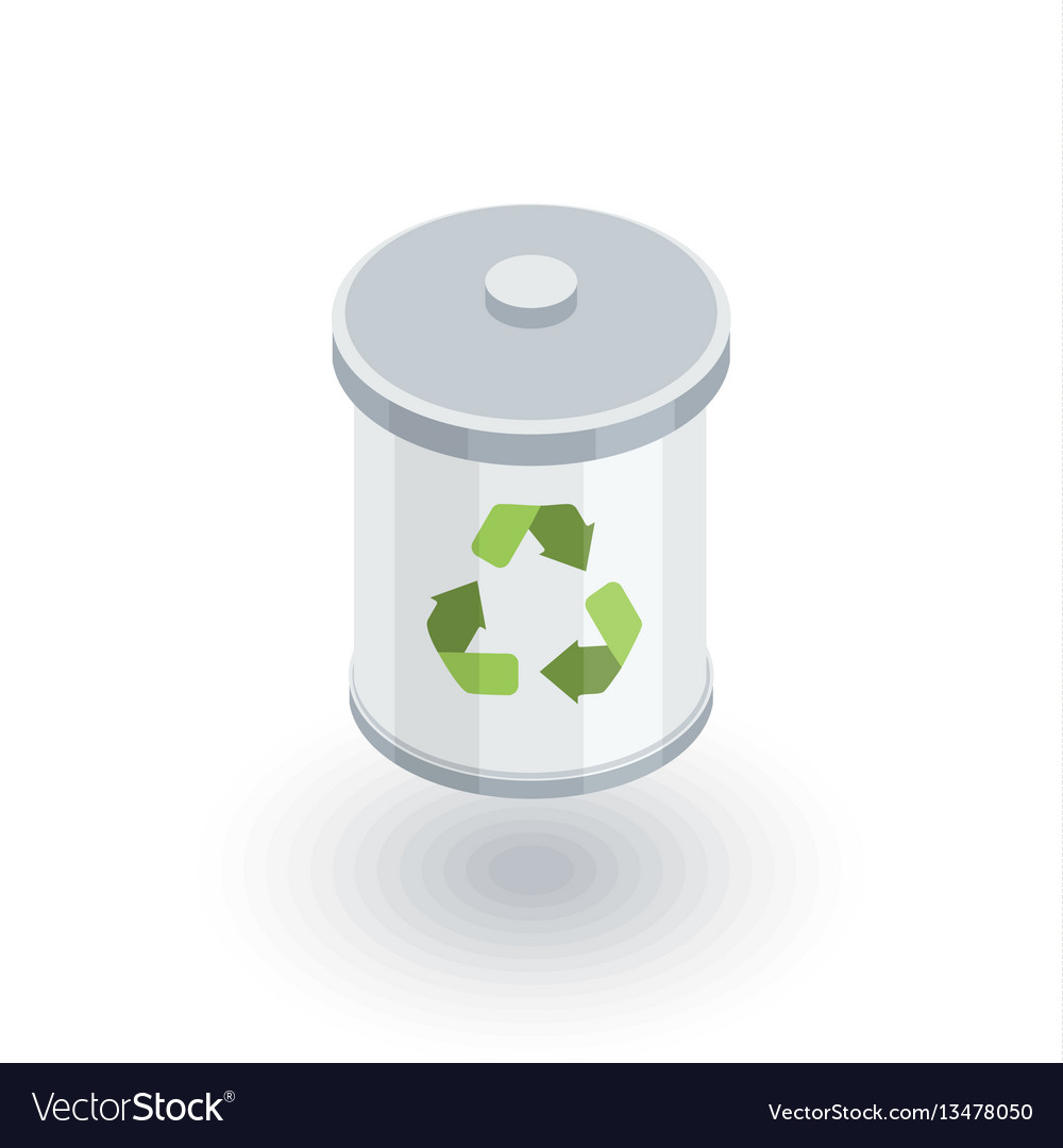Trash recycling isometric flat icon 3d