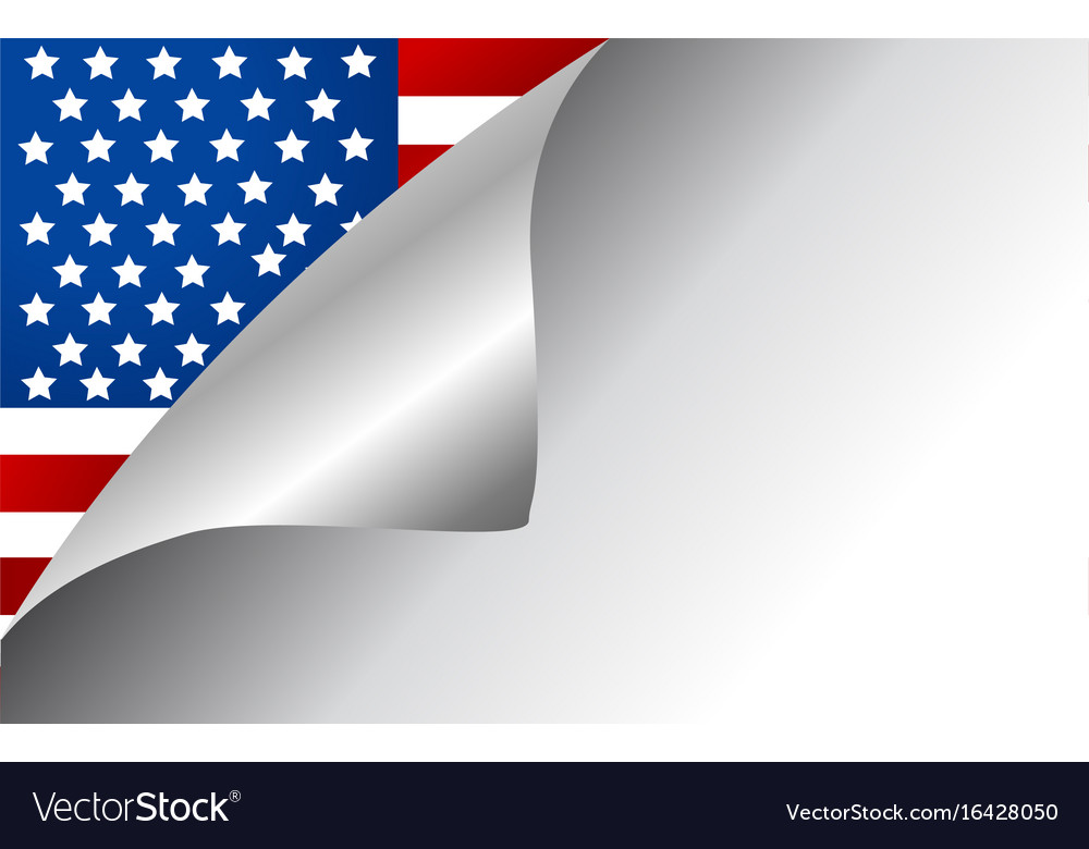 Usa country flag turning page vector image
