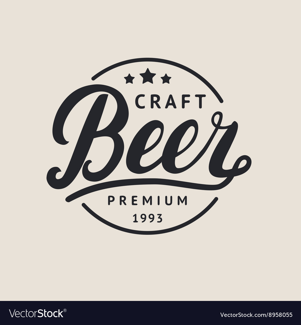 Beer logo lettering for logotype label badge and