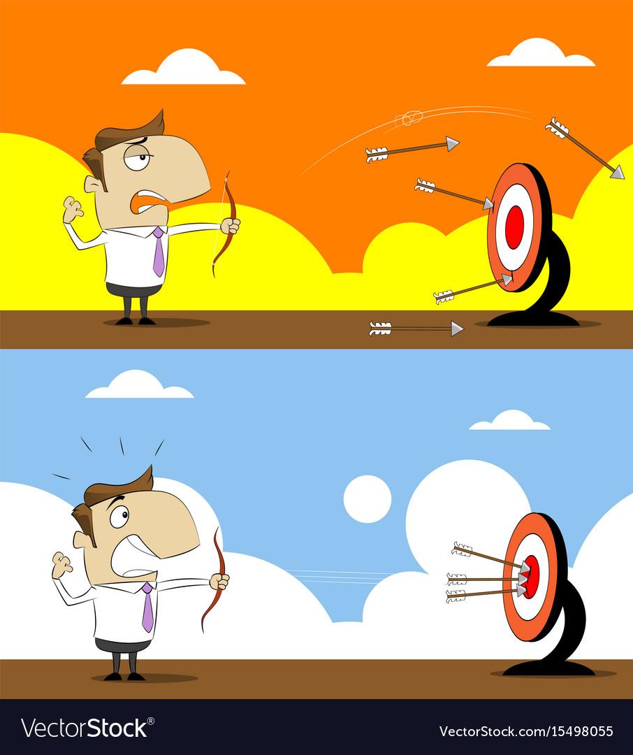 Cartoon businessman with shooting at target vector image