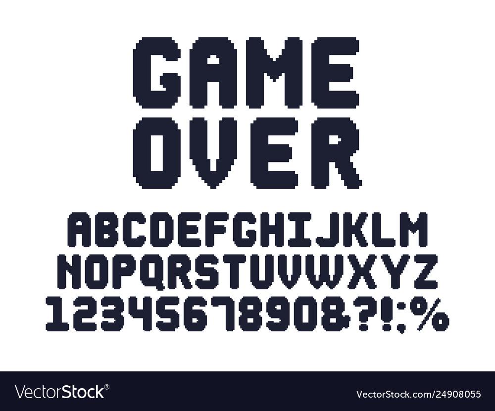 Computer 8 bit game font retro video games pixel