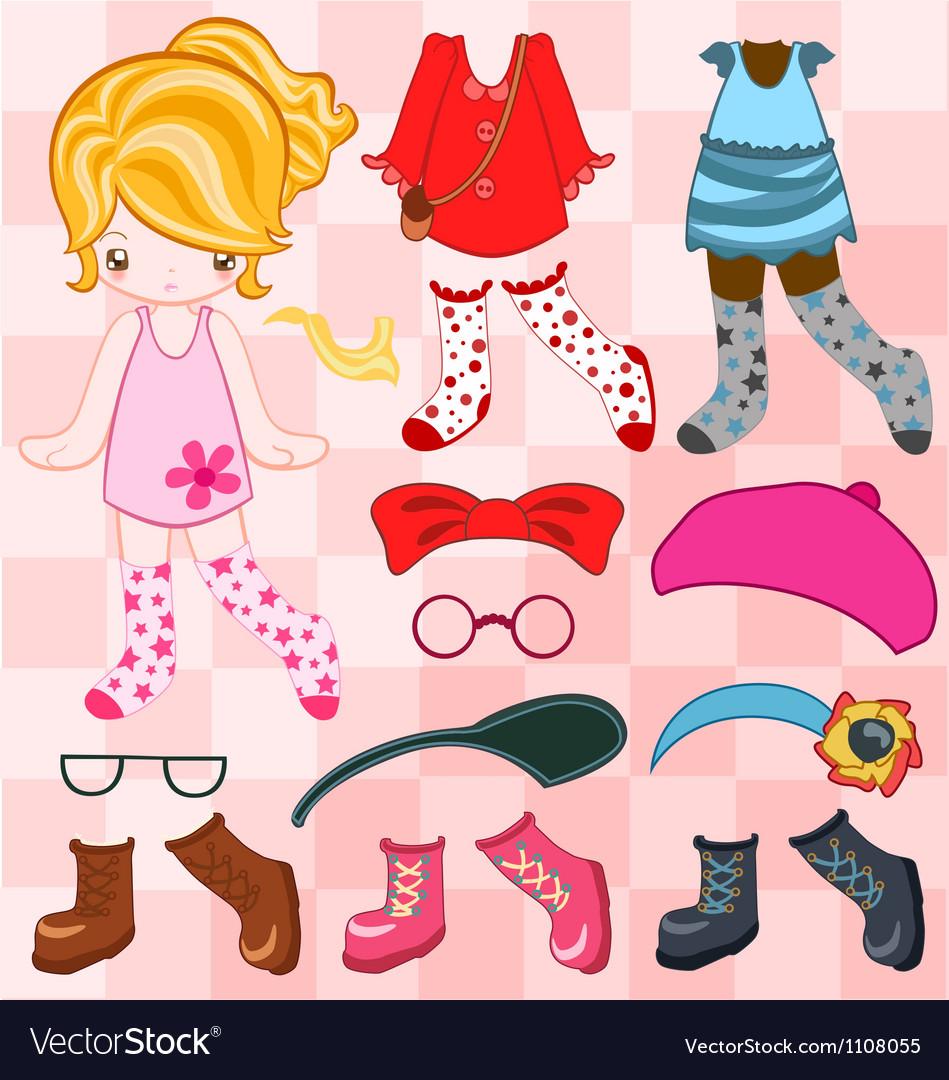 Dress up cute look vector image