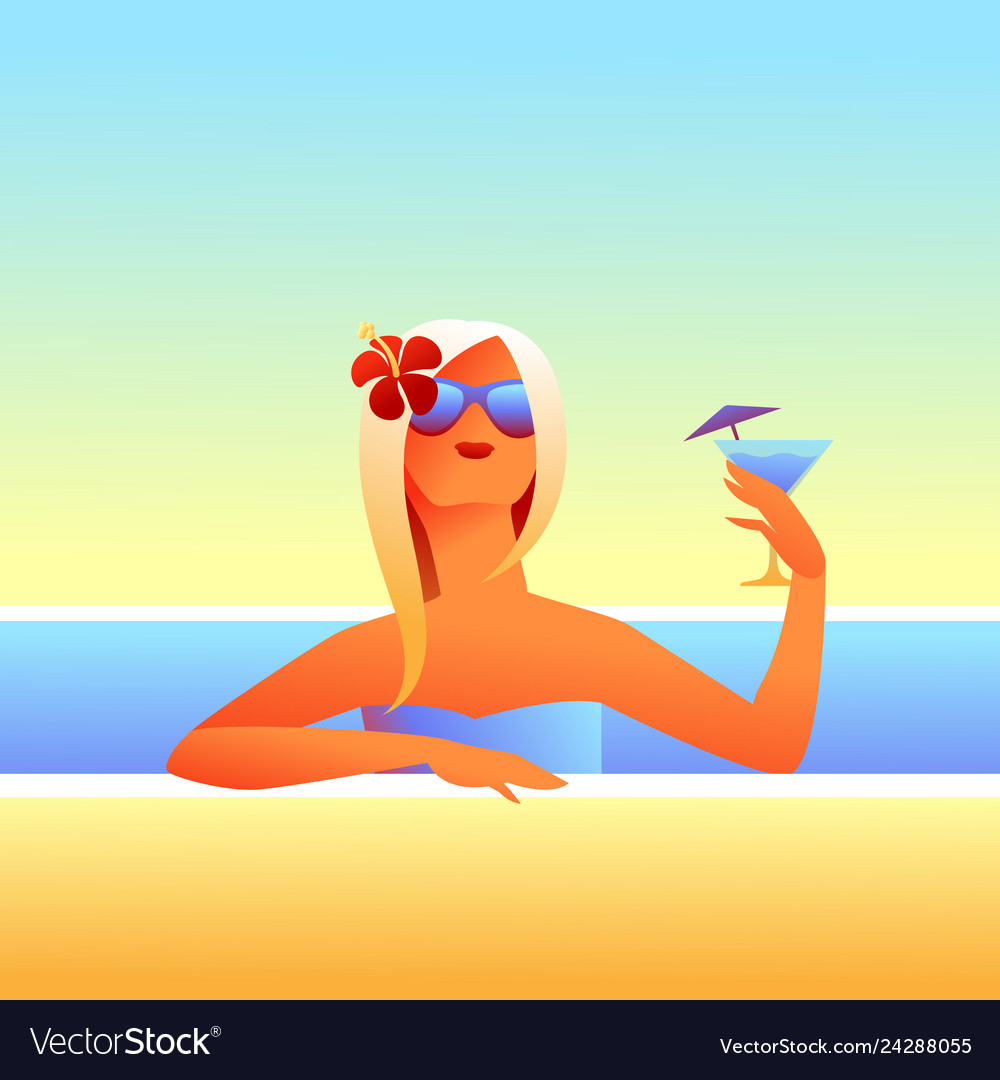 Girl sunbathes on beach with cocktail