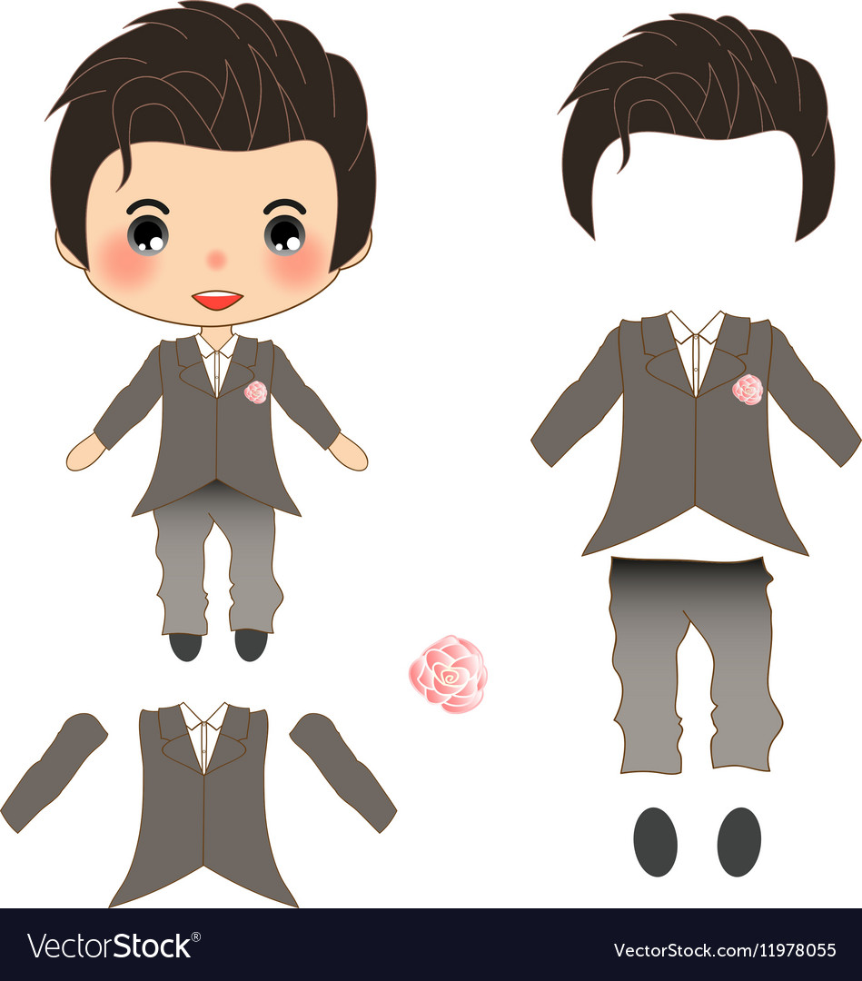 Groom Wedding Suit Costume vector image