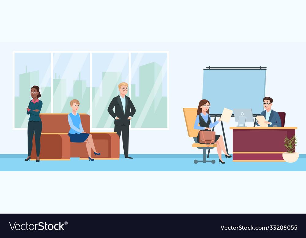 Job interview queue people in room wait line