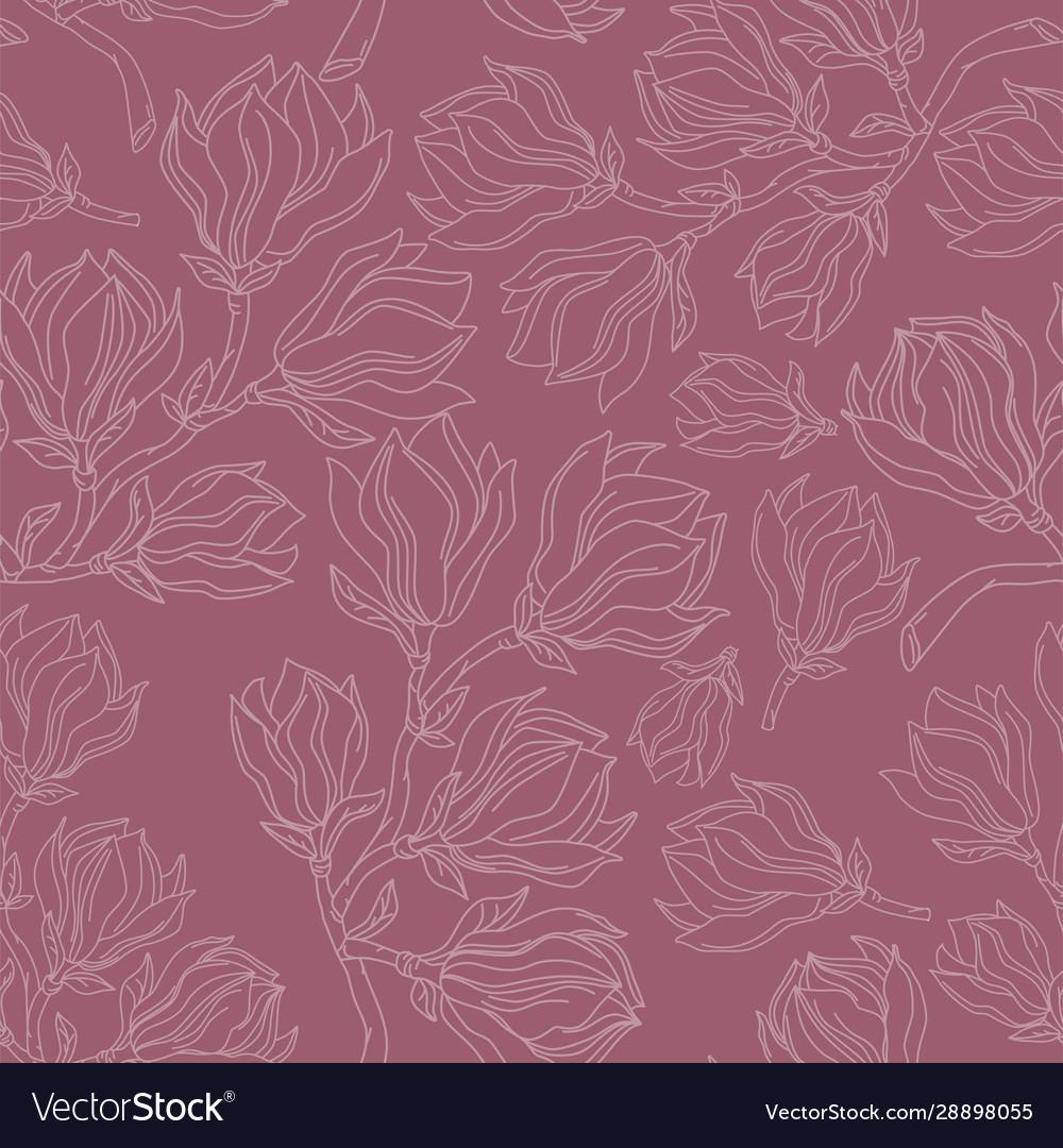 Magnolia drawing seamless pattern