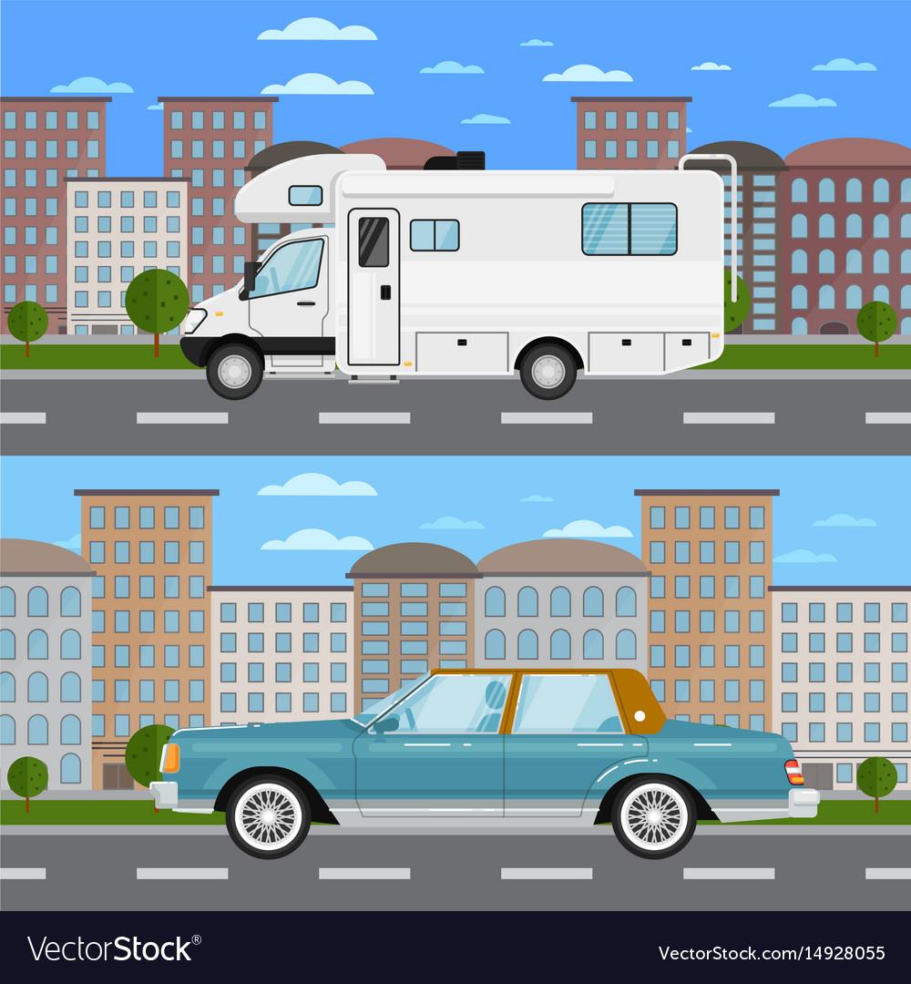 Retro car and camper van in urban landscape