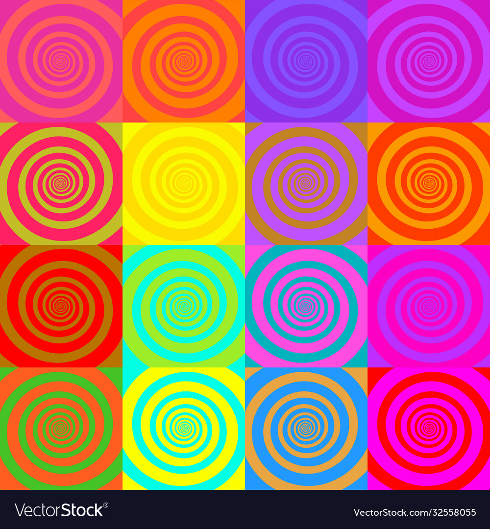 Set psychedelic spirals in comic style
