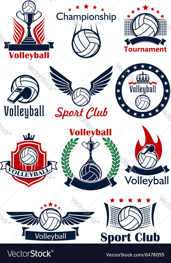 Volleyball game icons emblems and symbols vector image